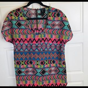 Fun & Flirt Aztec Colorful Top. Size Med.